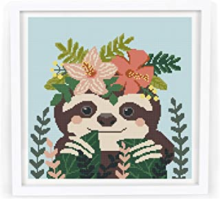 Cross stitch pattern sloth pdf, modern counted cute easy cross stitch pattern design, animal flowers tropical printable baby cross stitch pattern .MATERIALS ARE NOT INCLUDED!