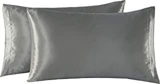EXQ Home Satin Pillowcases Set of 2 for Hair and Skin Queen Size 20x30 Grey Pillow Case with Envelope Closure (Anti Wrinkle,Wash-Resistant)