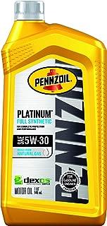 Pennzoil Platinum Full Synthetic Motor Oil 5W-30, 1 Quart - Pack of 6