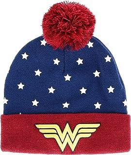 Juniors DC Wonder Woman Navy, Red & Gold Cuff Pom Beanie