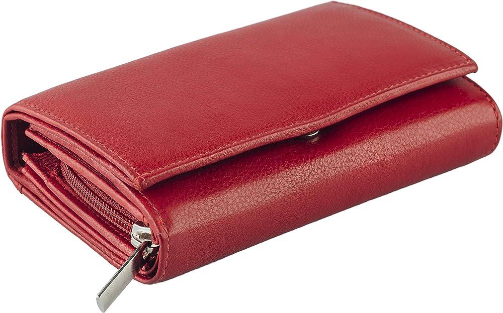 Empire interactive portafoglio da donna in pelle porta carte di credito con protezione anticlonazione rosso