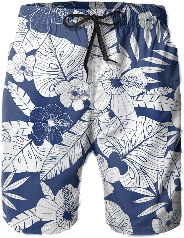 Acafugs Mens Board Shorts Beach Swimming Swim Trunks- Blue Drawing Tropical Summer Hawaiian