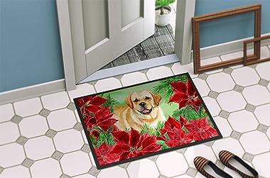 Caroline's Treasures Golden Retriever Poinsettias Doormat-Parent, Multicolor, 24H X 36W