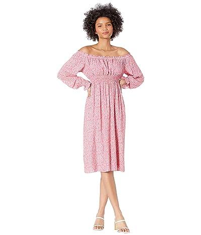 WAYF Smocked Waist Off Shoulder Midi Dress