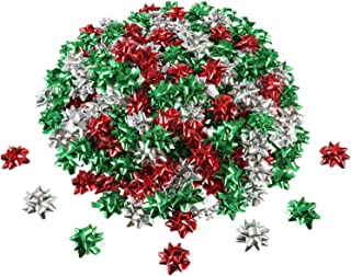 Tatuo 240 Pieces Mini Gift Wrap Bows Christmas Metallic Bows Self Adhesive Gifts Bows for Holiday Christmas Birthday Party Favor (Christmas Color)