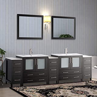 Vanity Art 96 inch Double Sink Modern Bathroom Vanity Set with Compact 2 Shelf, 13 Drawer - White Ceramic Top Bathroom Cabinet with Free Mirror - VA3030-96-E
