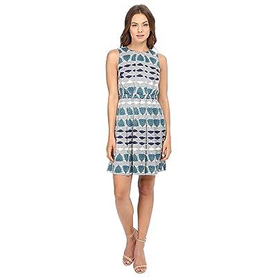 Donna Morgan Poly Twill Elastic Waist Wide Pleat Dress (Navy Multi) Women