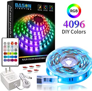 LED Strip Lights with Remote, Bason 16.4ft 4096 Colors DIY Flexible Led Color Changing Strip Lights, 12V Adapter Powered RGB LED Strips for Kitchen Home Christmas Room Decoration.