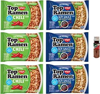 Nissin Top Ramen Noodles, Vegetarian, Soy Sauce Flavor and Chili Flavor - 3 of Each (6 Count) with Free Mini Tajin .35 oz