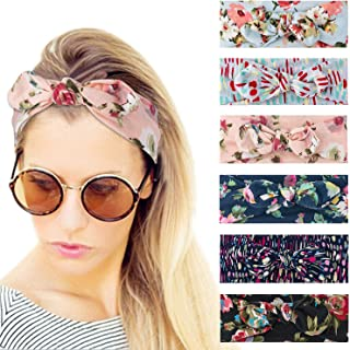 Dlala 6 Pack Boho Bow Headbands for Women Vintage Paisley Bandana Flower Printed Hairband Elastic Rabbit ear Head Wrap Cute Hair Accessories