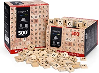 1000 Pcs Scrabble Ttiles, Magicfly Wooden Letter Tiles, A-Z Capital Letters for Crafts, Spelling,Scrabble Crossword Game