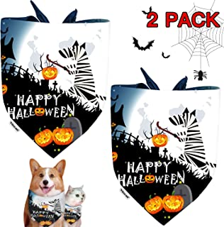 Halloween Dog Bandana Triangle Bibs with Pumpkin Jack-O-Lantern Bat Spider Pattern, Dog Scarves Holidays Set for Small Medium and Large Dogs&Cats, Pet Bandana 2 Pack Gifts for Dogs