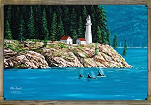 Northwest Passage Lighthouse #1 Metal Print on Reclaimed Barn Wood by Mike Bennett (24