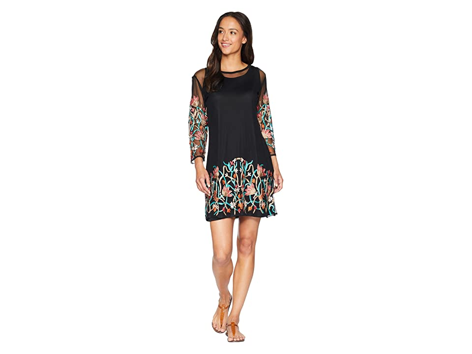 Scully Sandrah Two-Piece Embroidered Mesh Dress (Black) Women