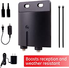 GE Outdoor TV Antenna Amplifier, HD TV Digital VHF UHF, Low Noise, Antenna Signal Booster, Coax Connections, Mounting Hardware Included, Black, 42179