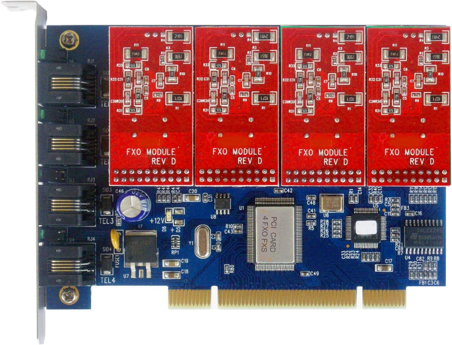 FXO Card with Long-awaited Directly managed store 4 Modules PCI Iss Voice Board Freepbx Supports