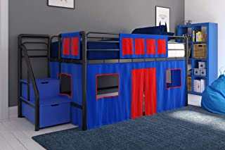 DHP Curtain Set for Kid's Loft Bed, Washable and Removable, Blue and Red
