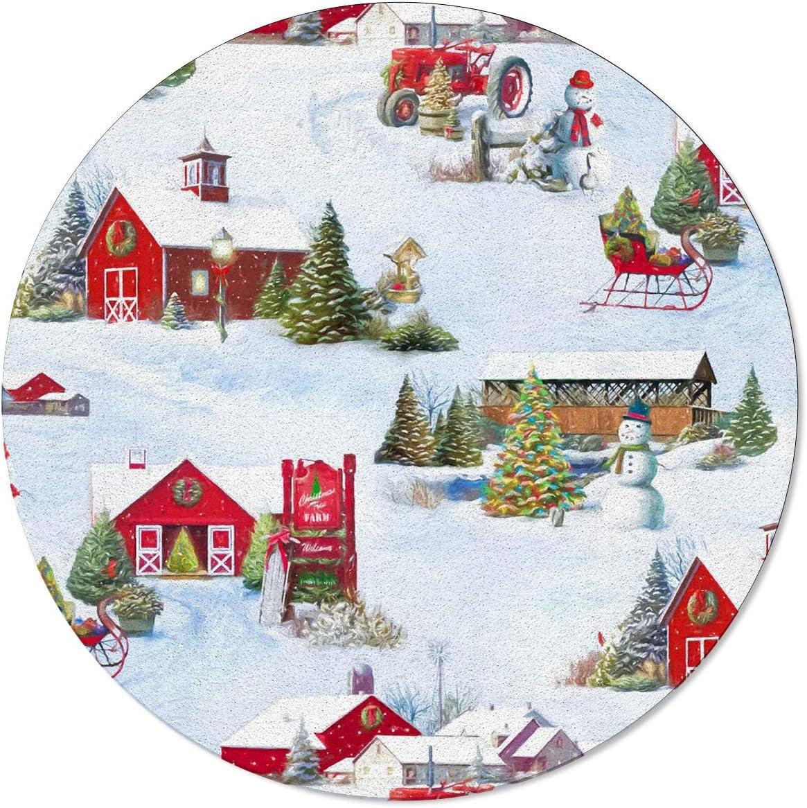 ARTSHOWING Christmas Scenery Round Trust Area Non-Slip Austin Mall F Rug Soft 5ft
