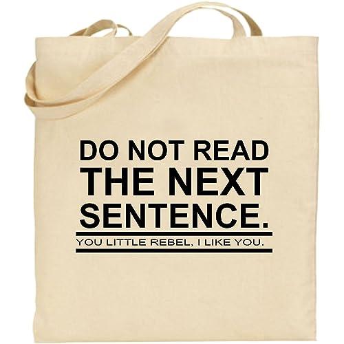 Do Not Read Next Sentence Rebel Large Cotton Tote Shopping Bag Funny Xmas  Gift 307fe270eb9