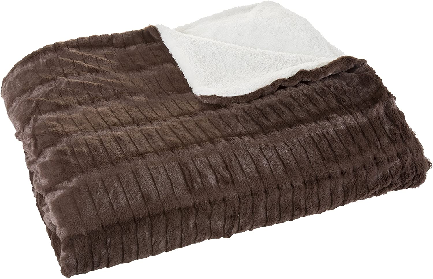 Bedford Home In Inexpensive stock Fleece and Sherpa King Chocolate - Blanket