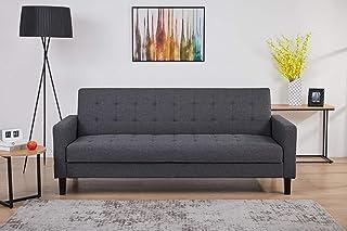 AmazonBasics - Sofá cama de tres plazas, 204 x 85 x 81, gris oscuro