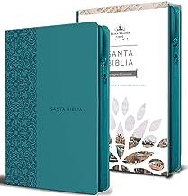 Biblia Reina Valera 1960 letra grande. Símil piel aguamarina, cremallera, tamaño manual/Spanish Bible RVR 1960. Handy Siz...