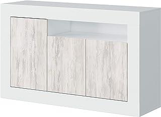 Habitdesign 036628A - Mueble aparador Buffet Modelo Baltik Acabado en Color Blanco Artik y Blanco Velho Medidas: 144 cm...