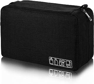 حقيبة أدوات الزينة للرجال للسفر حقيبة أدوات الحلاقة حقيبة منظم مقاومة للماء مثالية كهدية إكسسوار للسفر, , أسود - P012