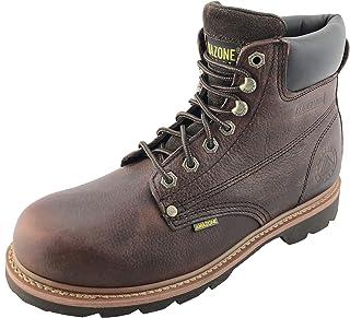 AMAZONE Men's Steel-Toe Premium Leather Construction Farm Work Boots Rubber Sole