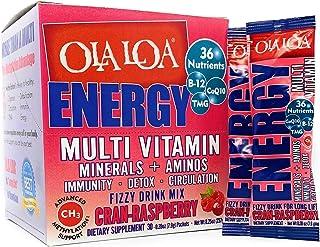 Ola Loa Energy Cran-Raspberry Multi Vitamin Drink Mix - Amino Energy Powder, Gluten Free, Detox, Dairy Free, Caffeine Free...
