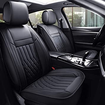 Aierxuan 5pcs Car Seat Covers Full Set with Waterproof Leather,Airbag Compatible Automotive Vehicle Cushion Cover Universal fit for Most Cars (Black) …: image