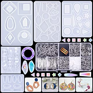Resin Earring Molds, Selizo 20 PCS Silicone Earring Molds Epoxy Jewelry Resin Molds Kit with 650PCS Earring Hooks Jump Rin...