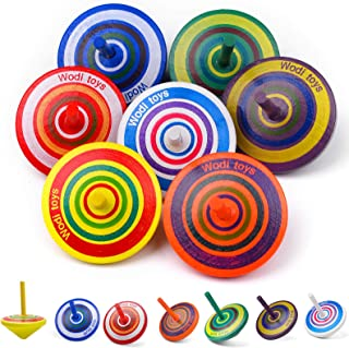 Wooden Spinning Tops for Toddlers - Colorful Wooden Educational Toy, Novelty Wooden Gyroscopes Multicolored Painted for Ki...