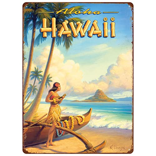 Hawaii Vintage Travel Poster Lady Airplane Plane Beach Reproduction FREE S//H