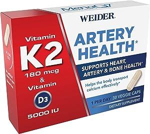 New! Artery Health for Heart, Immune and Bone Support with Vitamins K2 (180mcg) & D3 (5000iu), 30 Veggie Capsules