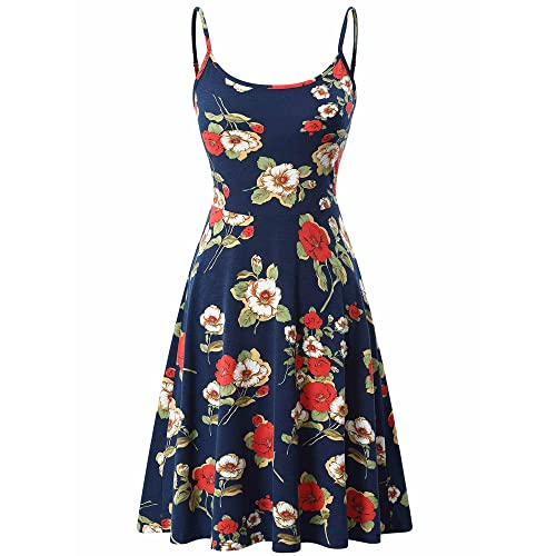 8d0ab1dca6 VETIOR Women s Sleeveless Adjustable Strappy Flared Midi Skater Dress