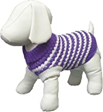 Amazing Pet Products Dog Sweater, 6-Inch, Purple with White