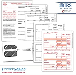 Tangible Values 1099 Misc Laser Tax Forms (4-Part) Kit with Env for 25 Vendors + (3) 1096 Forms Designed for Accounting & QuickBooks Software (2019)