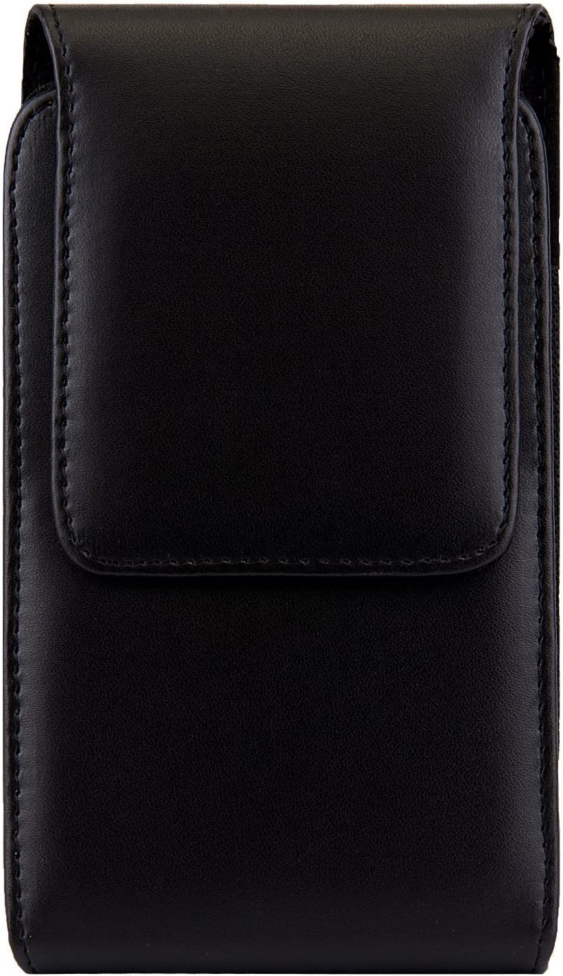 Vertical Cell Phone Holster with Belt Clip Magnetic Closure PU Leather Waist Belt Case Phone Holster Pouch for Samsung Galaxy Note9 / Note8 / Galaxy S9 Plus/iPhone 8 Plus/Motorola Moto Z3 Play