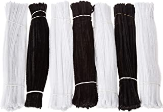 Aukiee 700pcs Pipe Cleaners Black and White Chenille Stems for DIY Art Creative Crafts 6 mm x 12 Inch