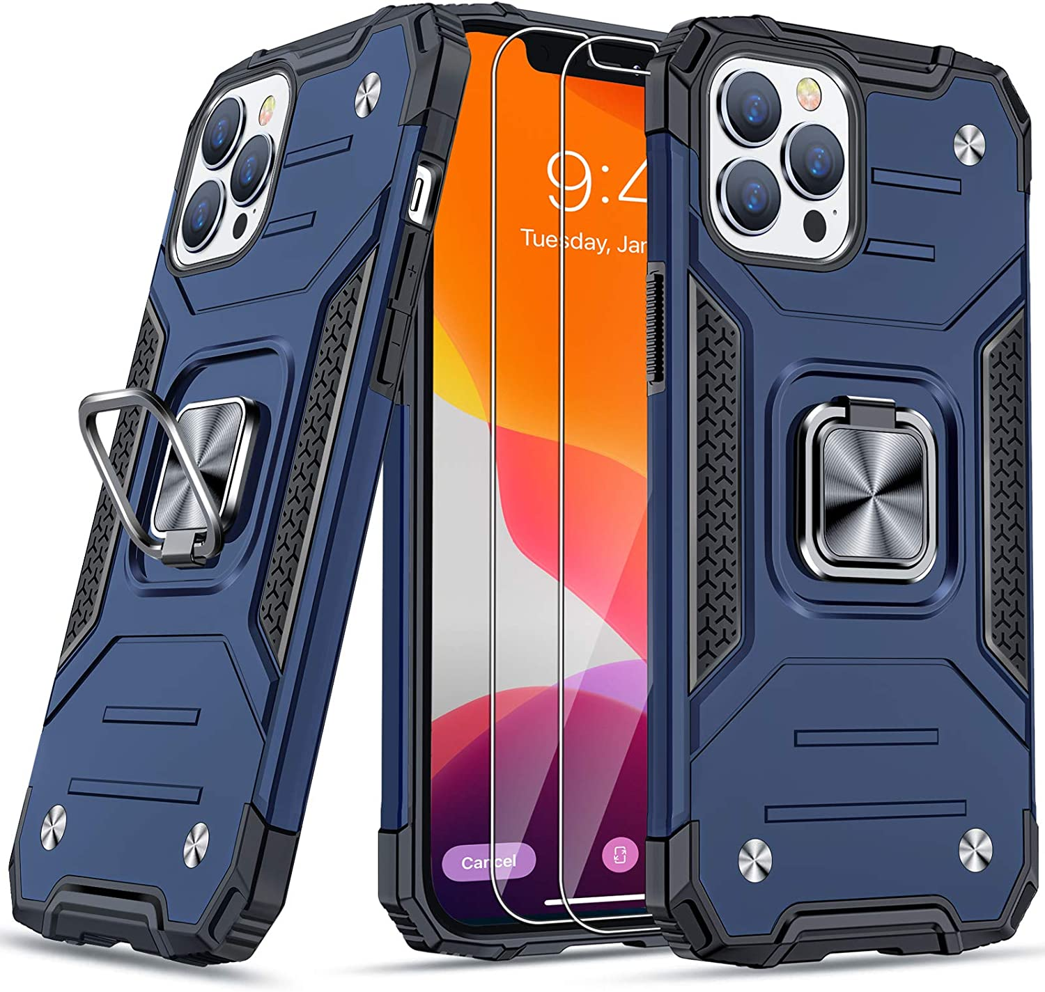 """JAME Case for iPhone 12 Pro Max Case with Screen Protectors 2Pcs, Military-Grade Drop Protection Cover, Protective Phone Cases, with Ring Kickstand, Bumper Case for iPhone 12 Pro Max 6.7"""" Blue"""