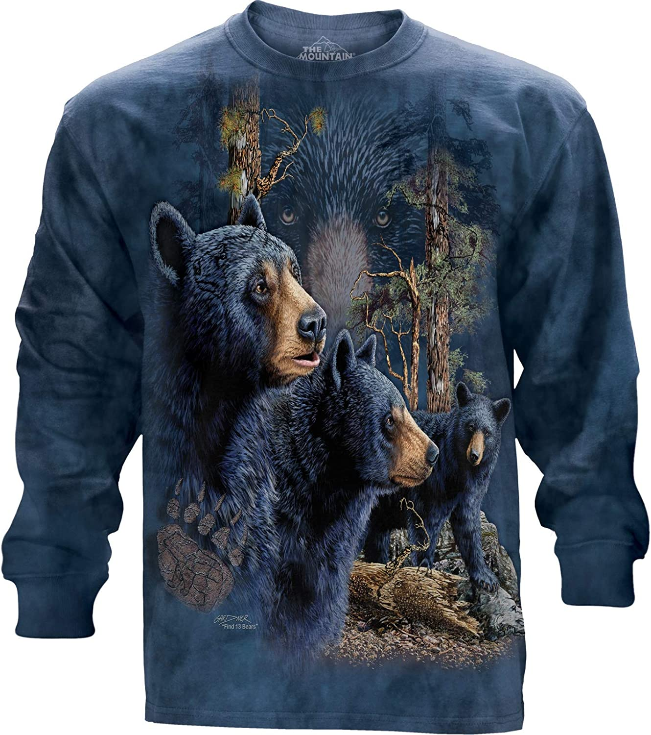 The Mountain Find 13 Black Long Bears USA Reservation T-Shirt Fees free!! Sleeve