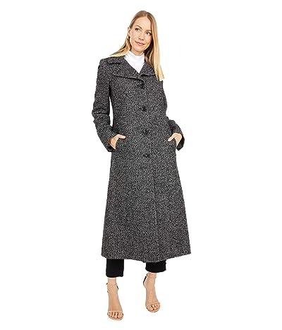 London Fog Long Wool Button Front Coat (Black/White) Women