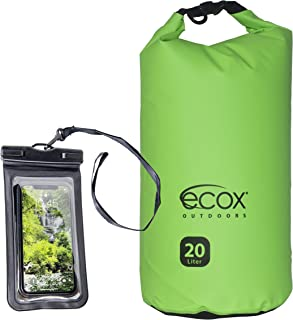 ecox Outdoors Waterproof Dry Bag for Outdoors Activities Includes Waterproof Phone Case