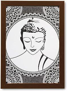 Mandala Art - Handmade Painting Photo Frame of Buddha | Modern Art Wooden Frame Pen Sketch Drawing | Painting for Wall, Li...