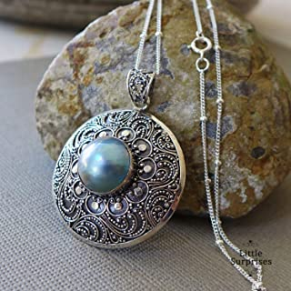 Purple Grey Mabe Pearl Bali Sterling Silver Pendant 20 Inch Necklace JD137