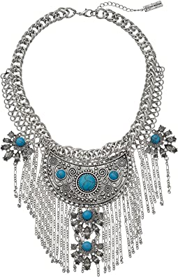 Steve Madden - Tribal Curb Chain Necklace w/ Turquoise Stones and Dangling Fringe Necklace