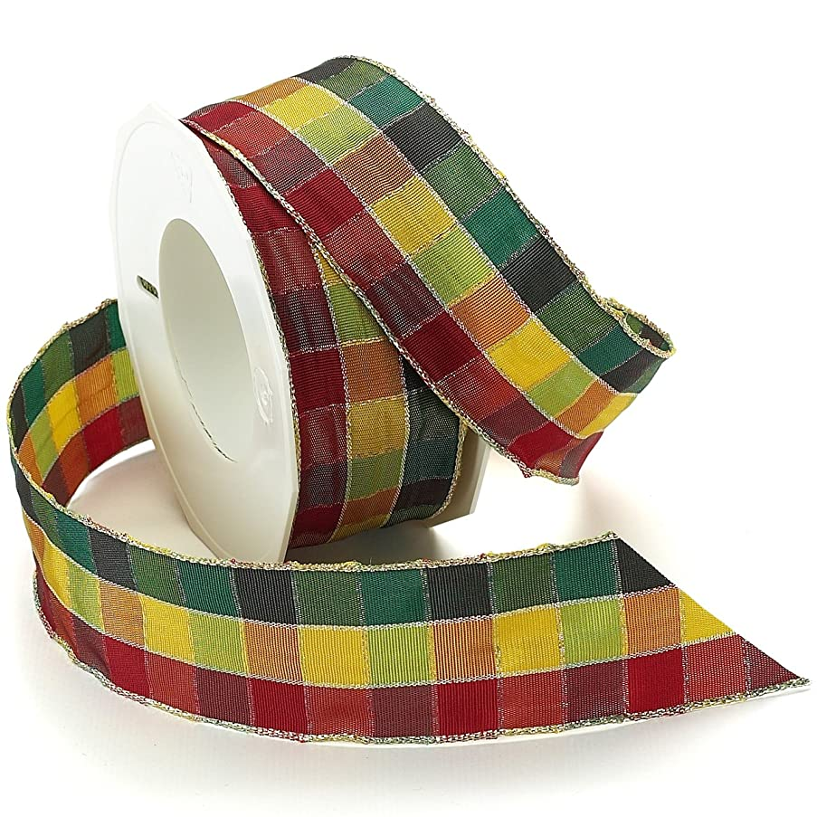 Morex Ribbon Highland Wired Metallic Edge Ribbon Spool, 1-1/2-Inch by 20-Yard, Holiday