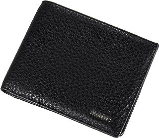 Banuce Top Grain Leather Bifold Wallet for Men Slim Front Pocket Wallet Travel Wallet with Card Holder Organizer Black