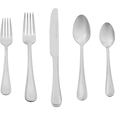 Amazon Basics 20-Piece Stainless Steel Flatware Set with Pearled Edge, Service for 4
